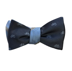 Navy Two-wheeler Stripe bow ties