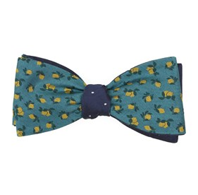 Green Teal Lemons Dot bow ties