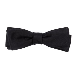 solid satin black bow ties