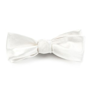 solid satin white bow ties