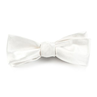 Solid Satin White Bow Tie