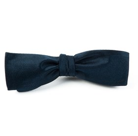 Solid Satin Midnight Navy Bow Ties