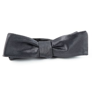 Solid Satin Charcoal Bow Tie