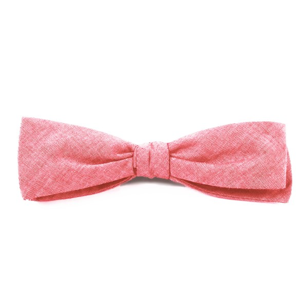 Red Classic Chambray Bow Tie