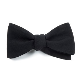 Solid Wool Black Bow Ties