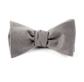 Solid Wool Grey Bow Ties