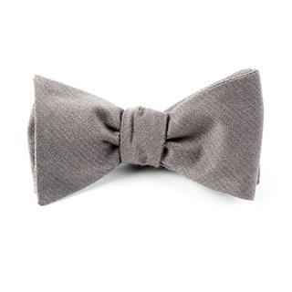 Solid Wool Grey Bow Tie