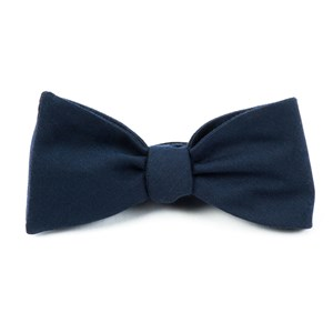 solid wool navy bow ties