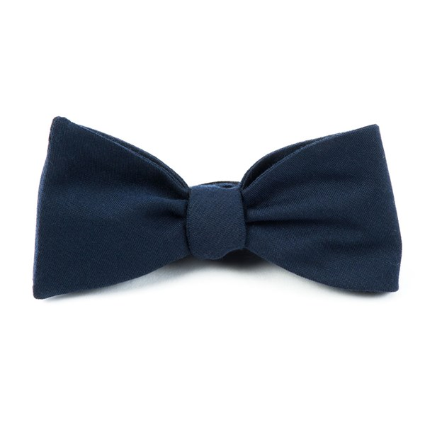 Navy Solid Wool Bow Tie