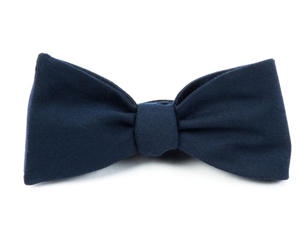 Solid Wool Navy Bow Tie