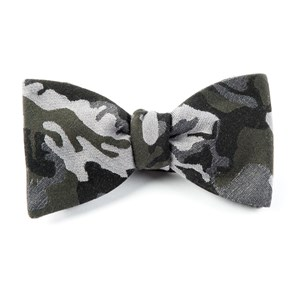 camouflage wool dark green bow ties