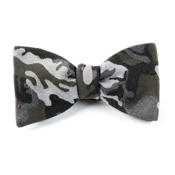 Dark Green Camouflage Wool Bow Tie