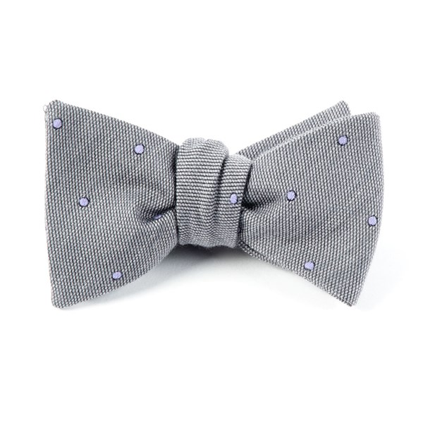 Charcoal Wool Dots Bow Tie