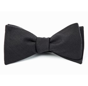 Solid Wool Metallic Grey Bow Ties