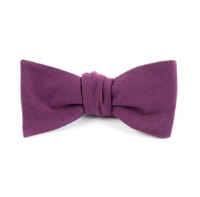 Solid Wool Wine Bow Ties