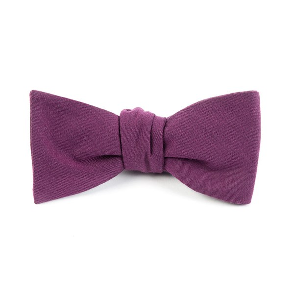 Wine Solid Wool Bow Tie