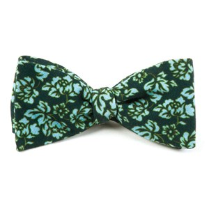 serpentine floral deep green teal bow ties