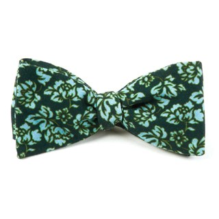 Serpentine Floral Deep Green Teal Bow Tie