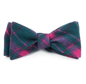 Green Teal Abbey Plaid bow ties