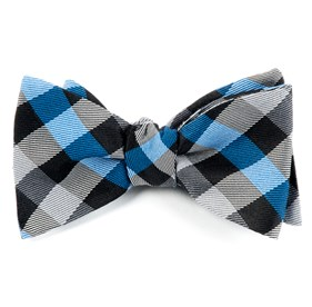 Gingham Fusion Blue Bow Ties