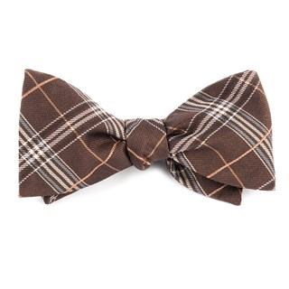 marshall plaid brown bow ties
