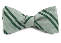 Bow Ties - Wool Path Stripe - Moss Green