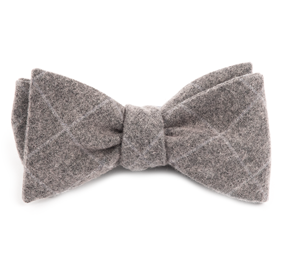 Charcoal Printed Flannel Pane bow ties