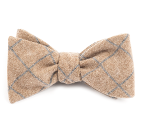 Mustard Printed Flannel Pane bow ties