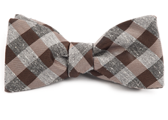 Bow Ties - Splattered Gingham - Brown