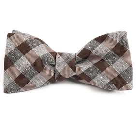 Brown Splattered Gingham bow ties