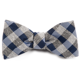 splattered gingham navy bow ties