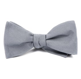 Light Grey Solid Wool bow ties