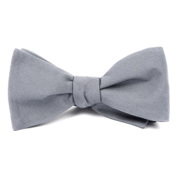 Light Grey Solid Wool Bow Tie