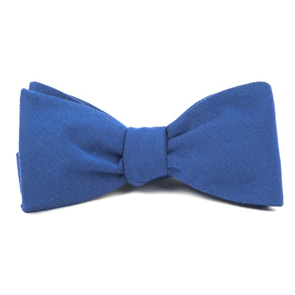 Classic Blue Solid Wool Bow Tie
