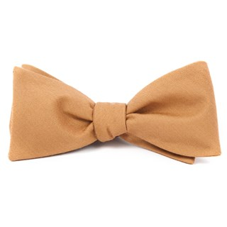 Solid Wool Mustard Bow Tie