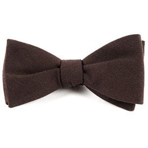 solid wool chocolate brown bow ties