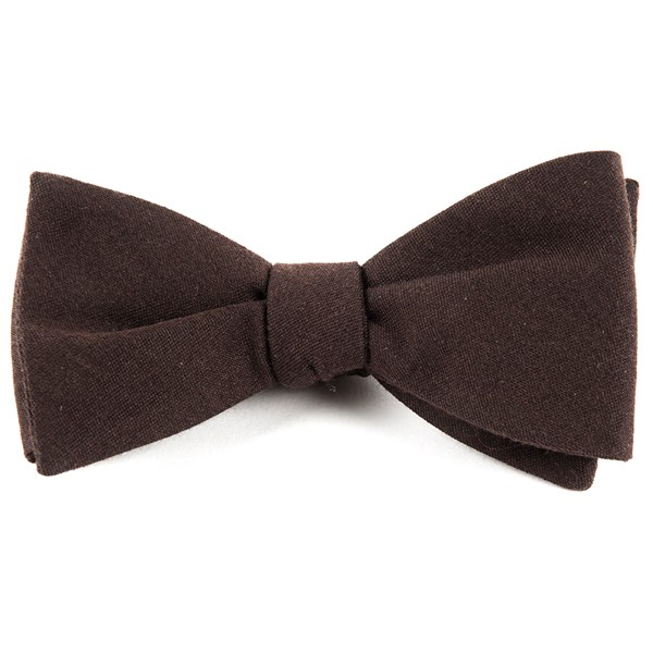 Chocolate Brown Solid Wool Bow Tie