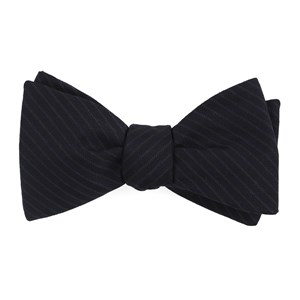 chalk stripe midnight navy bow ties