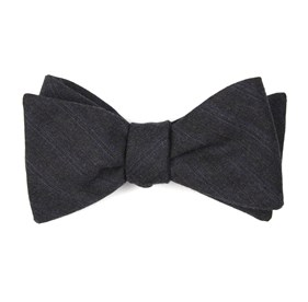 For The Course Stripes Charcoal Bow Ties