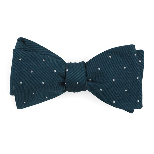 Teal Dotted Report Bow Tie