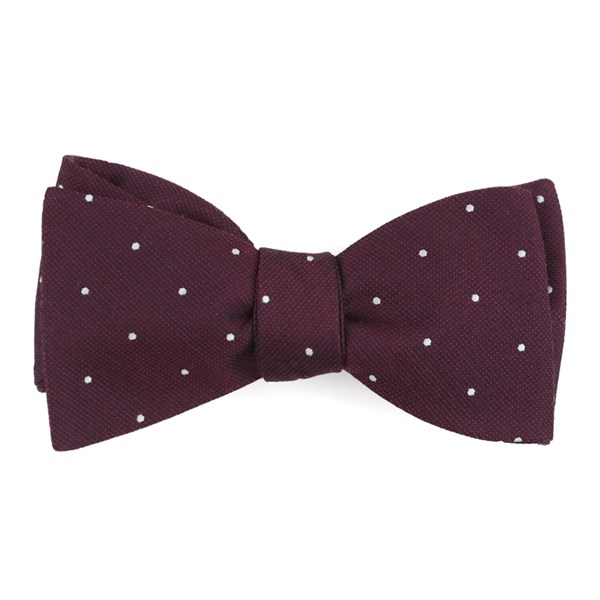 Wine Dotted Report Bow Tie