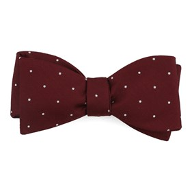 Burgundy Dotted Report bow ties