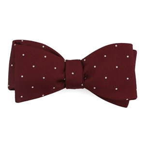 dotted report burgundy bow ties