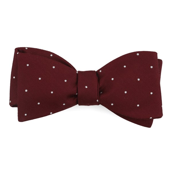 Burgundy Dotted Report Bow Tie