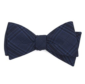 Navy Blue Sole Plaid bow ties