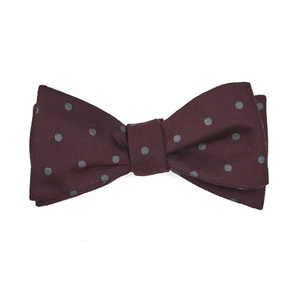 Burgundy Dotted Hitch Bow Tie