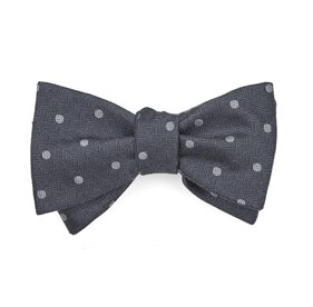Grey Dotted Hitch bow ties