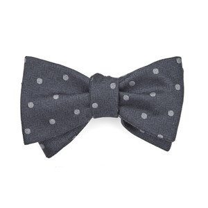 dotted hitch grey bow ties
