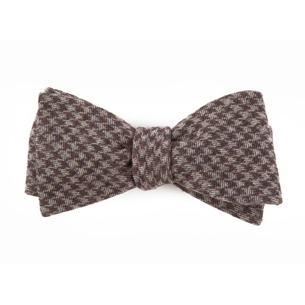 Brown Brushed Cotton Houndstooth Bow Tie