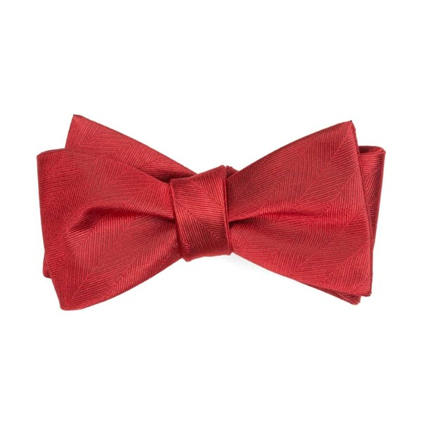 Red Herringbone Vow Bow Tie
